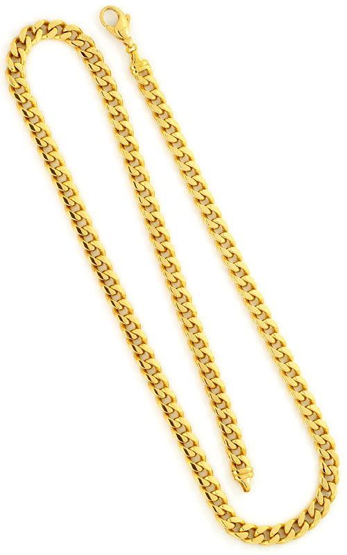 Foto 3, Flachpanzerkette gewölbte Goldkette massiv Gelbgold 14K, K2418