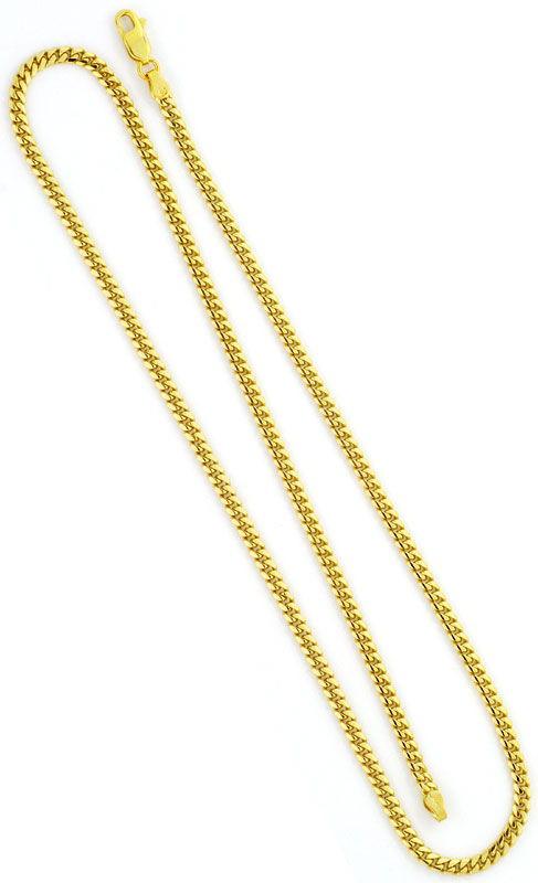 Foto 3, Flach-Panzer-Kette Gewoelbte Goldkette massiv Gelb-Gold, K2420