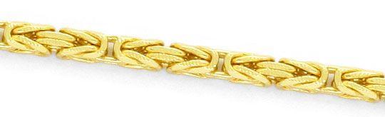 Foto 2, Königskette Zick Zack Kreuz Gravur Goldkette massiv 14K, K2426
