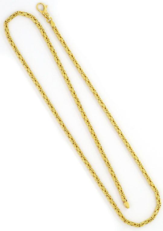 Foto 3, Königskette Zick Zack Kreuz Gravur Goldkette massiv 14K, K2426
