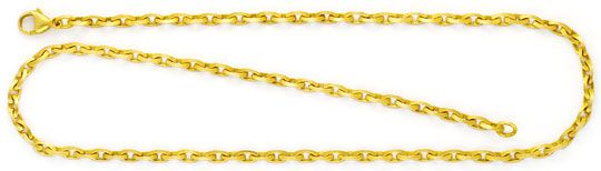 Foto 1, Linsen Design Ankerkette Goldkette massiv Satiniert 14K, K2432