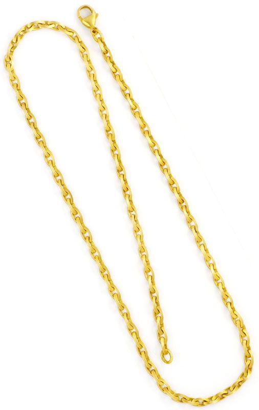 Foto 3, Linsen Design Ankerkette Goldkette massiv Satiniert 14K, K2432