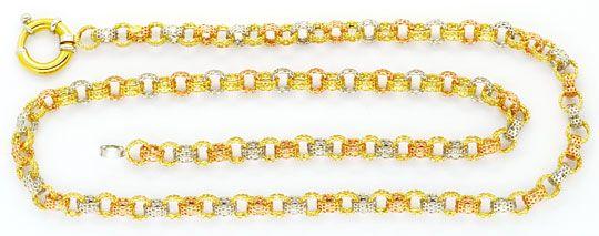 Foto 1, Loch Rund Anker Goldkette Gelb Weiss Rotgold Design 18K, K2433