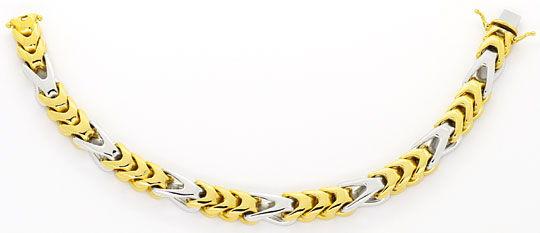 Foto 1, Extremes Designer Goldarmband massiv Gelbgold Weissgold, K2434
