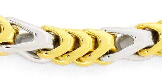 Foto 2, Extremes Designer Goldarmband massiv Gelbgold Weissgold, K2434