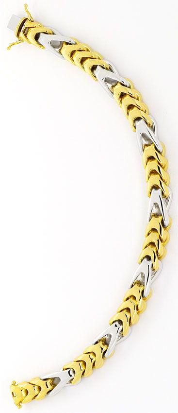 Foto 3, Extremes Designer Goldarmband massiv Gelbgold Weissgold, K2434