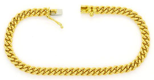 Foto 1, Rundpanzer Goldarmband massiv Gelbgold Kastenverschluss, K2440