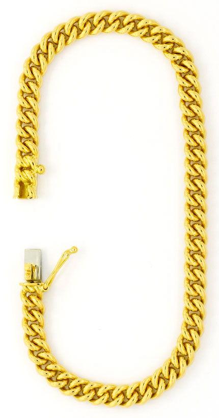 Foto 3, Rundpanzer Goldarmband massiv Gelbgold Kastenverschluss, K2440