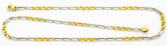 Foto 1, Phantasie Flachpanzer Goldkette, Gelbgold Weissgold 18K, K2443