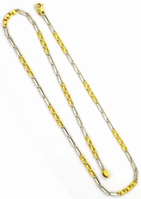 Foto 3, Phantasie Flachpanzer Goldkette, Gelbgold Weissgold 18K, K2443
