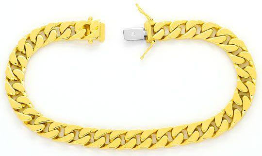 Foto 1, Flachpanzergoldarmband massiv Gelbgold Kastenverschluss, K2445