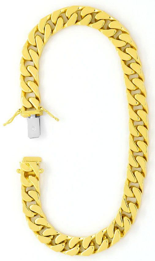 Foto 3, Flachpanzergoldarmband massiv Gelbgold Kastenverschluss, K2445