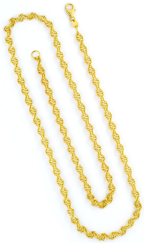 Foto 3, Kordelgoldkette aus Draht Geflecht Gelbgold 18K/750 Neu, K2446