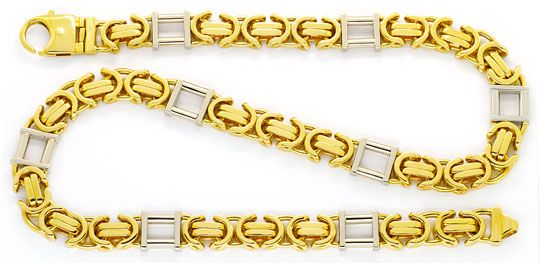 Foto 1, Monster Goldkette Königskette Tempel Gelbgold Weissgold, K2447