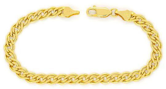Foto 1, Doppel Flachpanzer Schmuckset Halskette und Armband 585, K2450