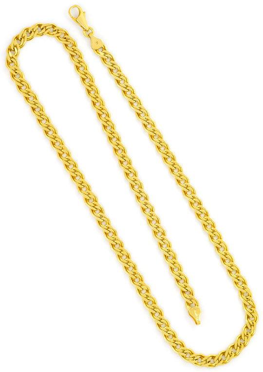 Foto 5, Doppel Flachpanzer Schmuckset Halskette und Armband 585, K2450