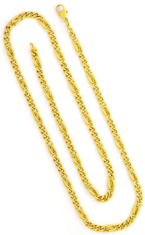 Foto 3, Figaroflachpanzer Gelbgoldkette Pfauenauge Elemente 14K, K2451