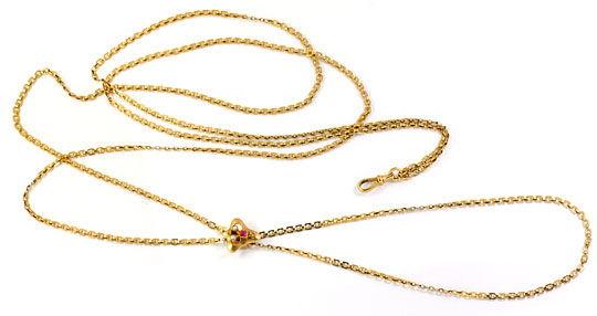 Foto 1, Perlen Schieberkette antik für Taschenuhren 14K Rotgold, K2454