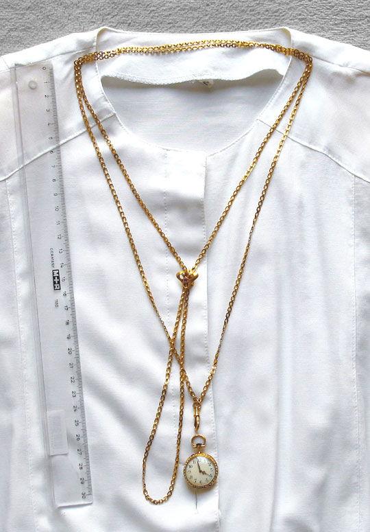 Foto 3, Perlen Schieberkette antik für Taschenuhren 14K Rotgold, K2454
