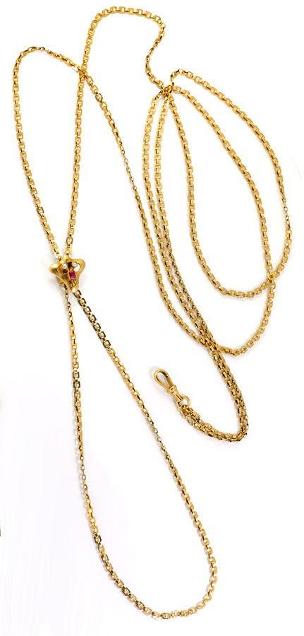 Foto 4, Perlen Schieberkette antik für Taschenuhren 14K Rotgold, K2454