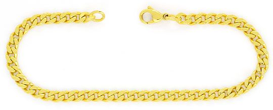 Foto 1, Flachpanzer Schmuckset Halskette Armband massiv 14K/585, K2457