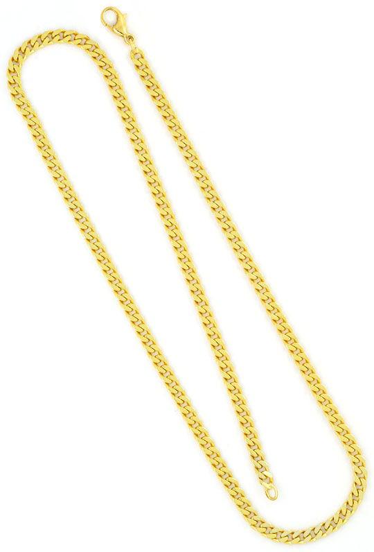 Foto 5, Flachpanzer Schmuckset Halskette Armband massiv 14K/585, K2457