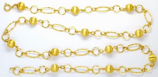 Foto 1, Phantasie Goldkette Gravierte Flachanker Kugel Elemente, K2458