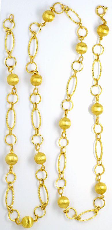 Foto 3, Phantasie Goldkette Gravierte Flachanker Kugel Elemente, K2458