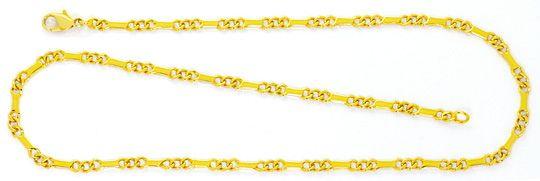 Foto 1, Goldkette Flachpanzer mit Stäbchen, massiv Gelbgold 14K, K2459