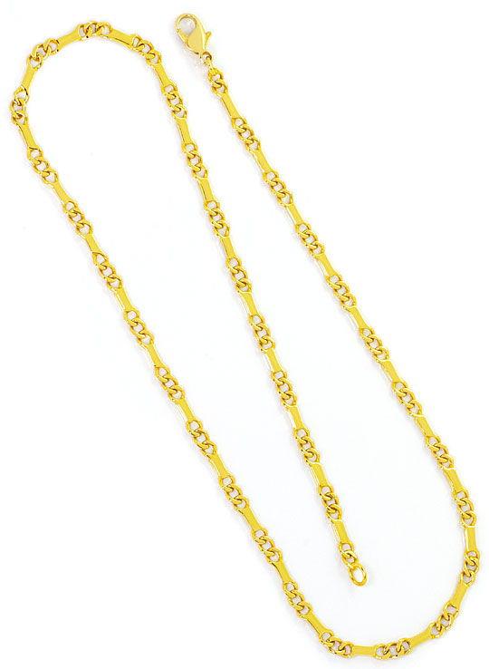 Foto 3, Goldkette Flachpanzer mit Stäbchen, massiv Gelbgold 14K, K2459