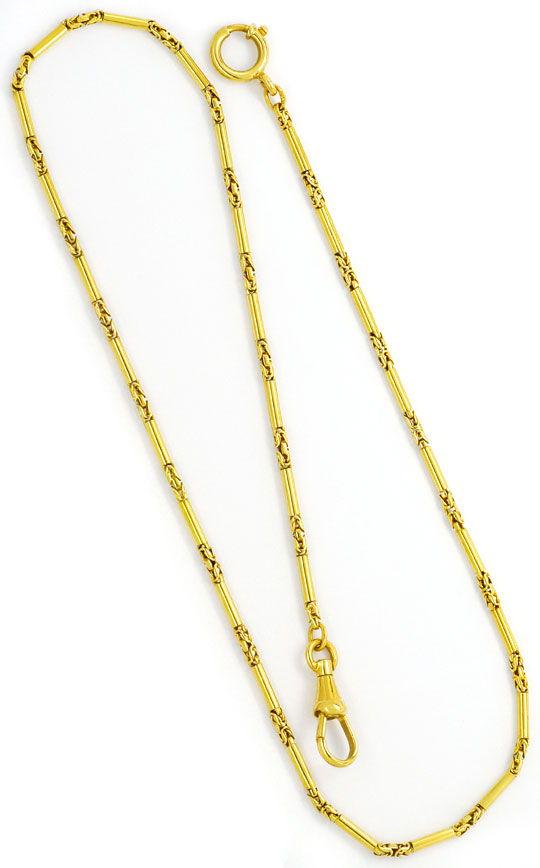 Foto 3, Taschenuhrkette Halskette Gelbgold Zylinder Königskette, K2463