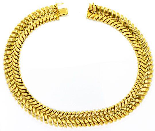 Foto 1, Goldkollier Schwingenmuster 3D Super Dekorativ Gelbgold, K2465