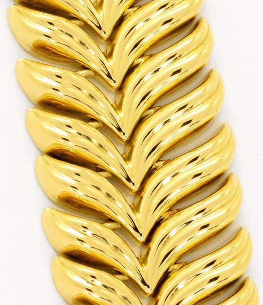 Foto 2, Goldkollier Schwingenmuster 3D Super Dekorativ Gelbgold, K2465