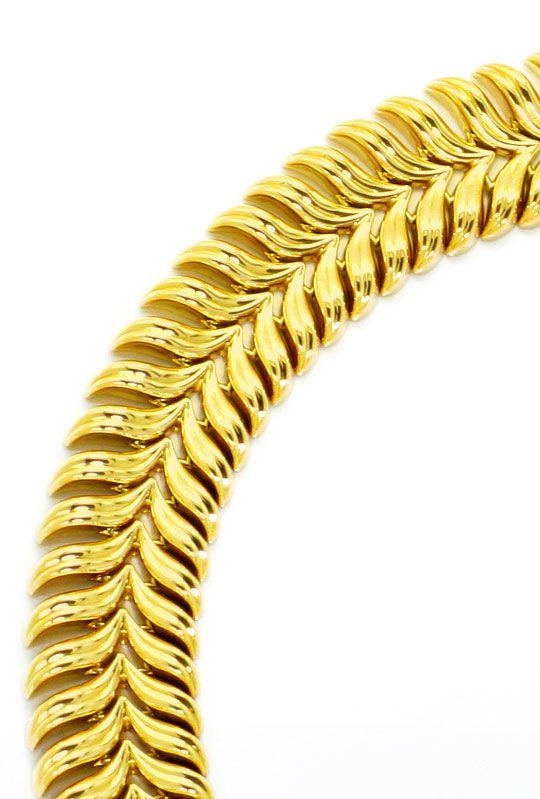 Foto 3, Goldkollier Schwingenmuster 3D Super Dekorativ Gelbgold, K2465