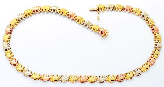 Foto 2, Elephanten Kollier Elephanten Armband Tricolor Gold 18K, K2469