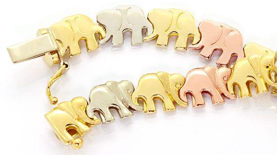 Foto 3, Elephanten Kollier Elephanten Armband Tricolor Gold 18K, K2469