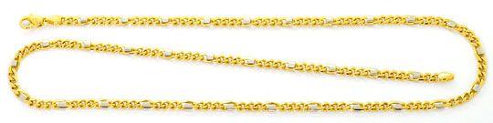 Foto 1, Massive Figaro Flachpanzer Goldkette Gelbgold Weissgold, K2473