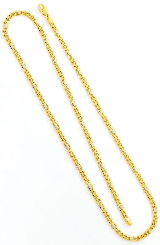 Foto 3, Massive Figaro Flachpanzer Goldkette Gelbgold Weissgold, K2473