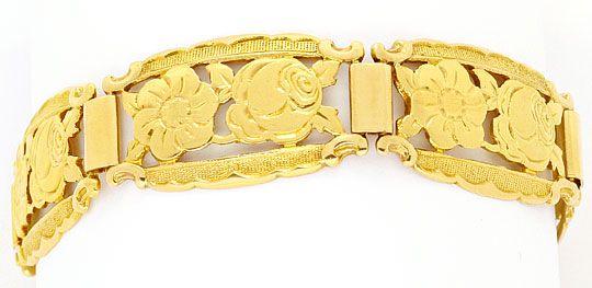 Foto 1, Altes Goldarmband Floral Graviertes Muster Gelbgold 14K, K2476