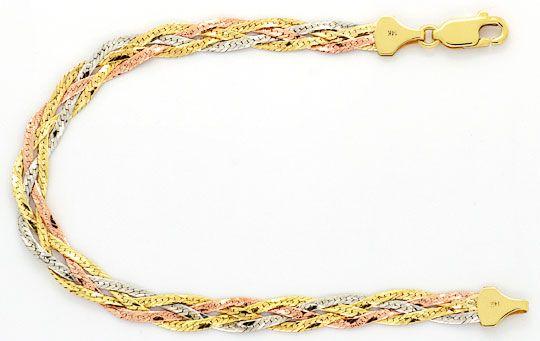 Foto 1, Flachpanzer Geflochten, Halskette und Armband, Tricolor, K2477