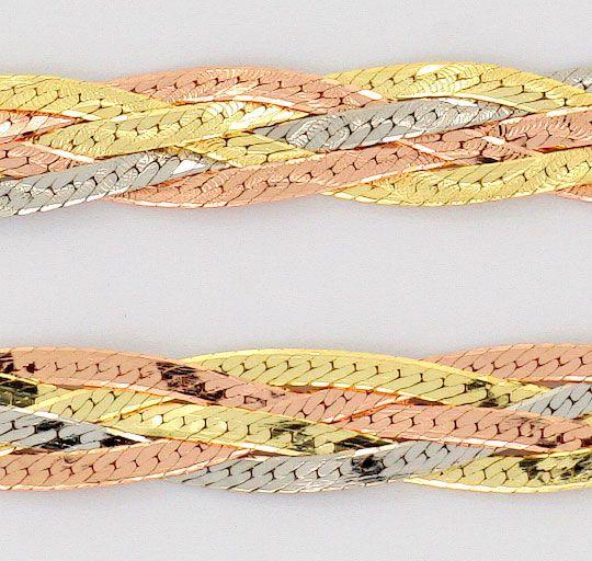 Foto 2, Flachpanzer Geflochten, Halskette und Armband, Tricolor, K2477