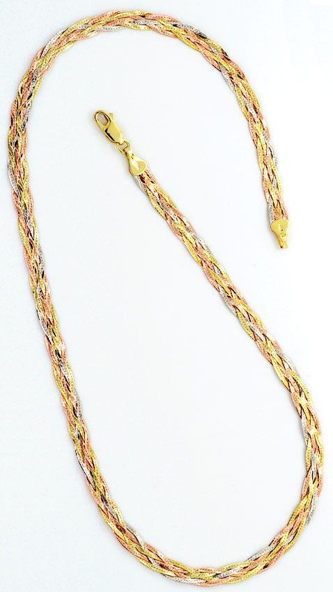 Foto 3, Flachpanzer Geflochten, Halskette und Armband, Tricolor, K2477