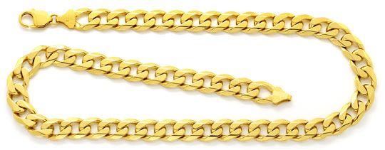 Foto 1, Massive Breite Flachpanzer Goldkette, Gelb Gold 18K/750, K2479
