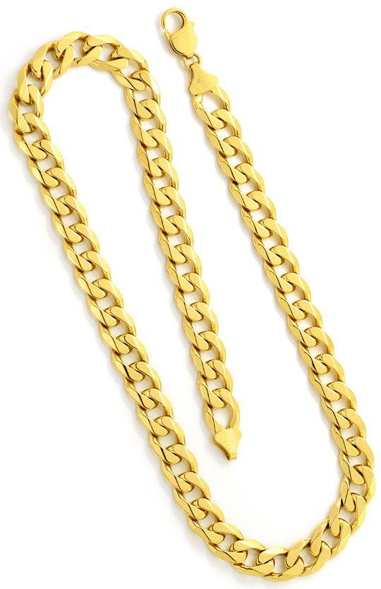 Foto 3, Massive Breite Flachpanzer Goldkette, Gelb Gold 18K/750, K2479