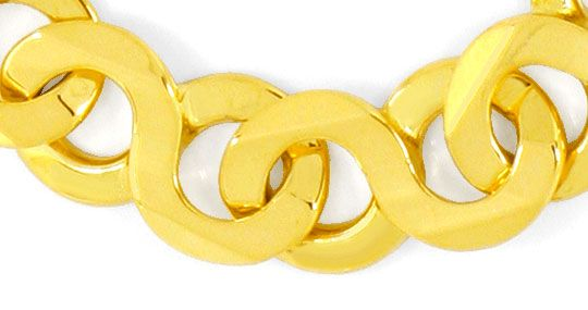 Foto 2, Gold Armband Achtermuster massiv Designer Karabiner 18K, K2480