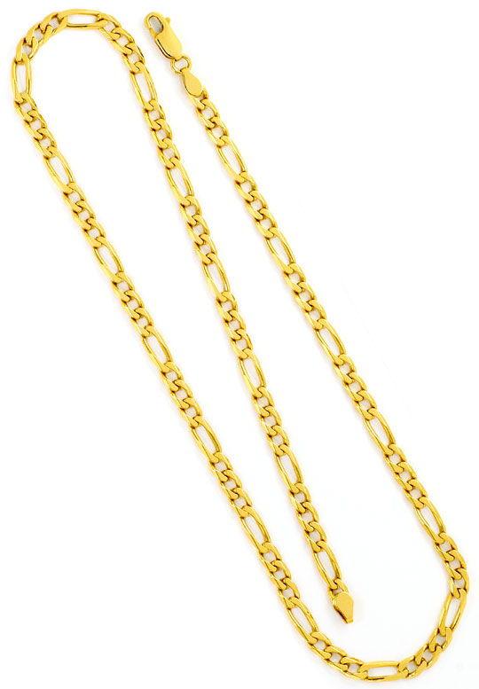 Foto 3, Goldkette Flachpanzer Figaro, massives Gelbgold 18K/750, K2482