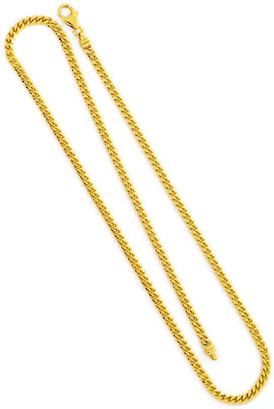Foto 3, Massive Goldkette gewölbte Flachpanzer Gelbgold 14K/585, K2483