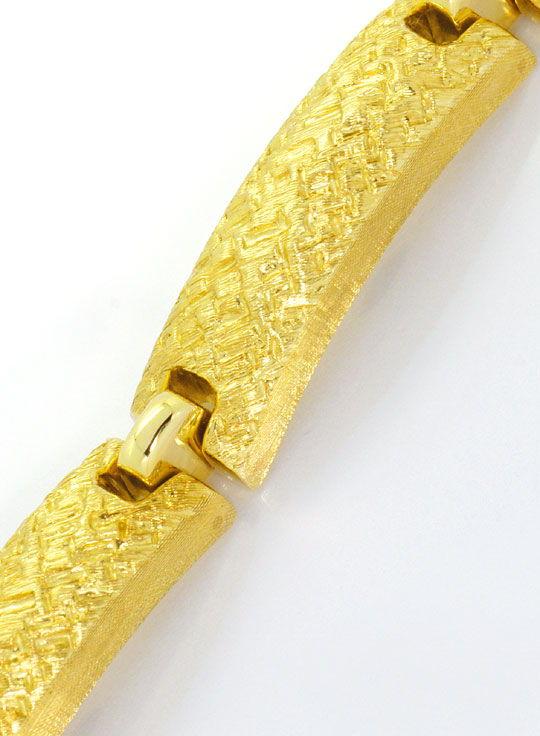 Foto 2, Designer Goldarmband Plattenmuster Kastenverschluss 14K, K2487