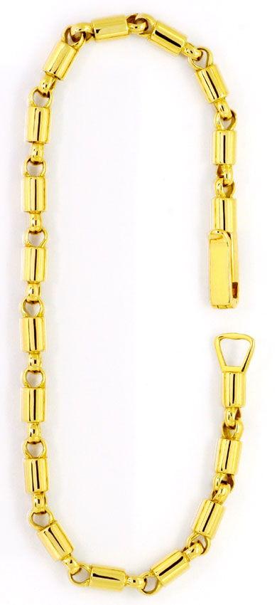 Foto 3, Goldarmband Design Phantasie Tonnen Muster Gelbgold 14K, K2489