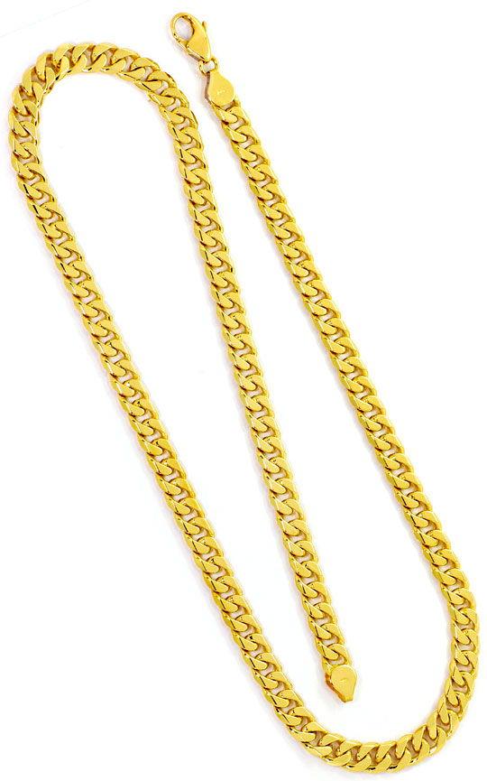 Foto 3, Flachpanzer Goldkette achtseitig geschliffen schwer 14K, K2492